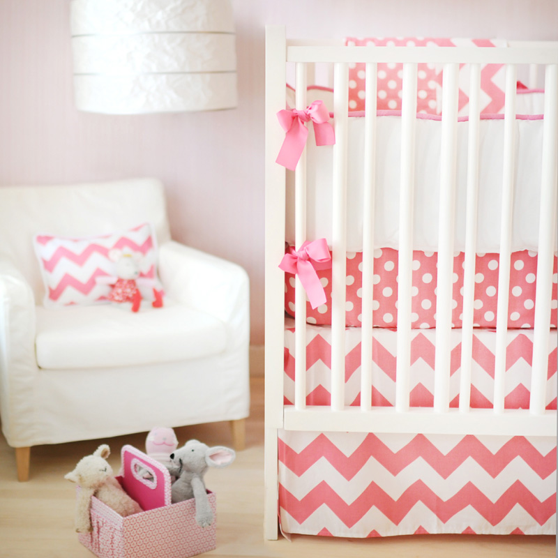 Zig Zag Baby Crib Bedding Set In Hot Pink By New Arrivals Inc