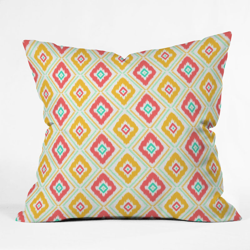 Zig Zag Ikat White Throw Pillow by DENY Designs - RosenberryRooms.com