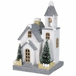 "10"" LED White Church w/Battery Operated Timer"