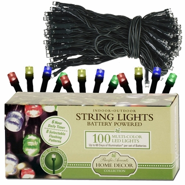100-LED MULT-COLOR String Lights - Battery Powered - Click to enlarge