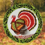 "12"" Glass Turkey Suncatcher"