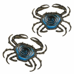 "12"" Metal & Glass Crab Wall Decor (Set of 2)"