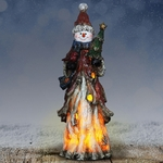 "13"" LED Woodland Snowman w/Tree"