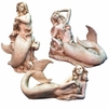 "13"" Mermaid Statues Decor (Set of 3) - Antique White"