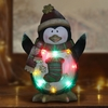 "13"" Penguin Statue w/Multi Color LED & Timer"