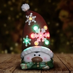 "14"" Snowflake Penguin Statue w/ Multi Color LED & Timer"