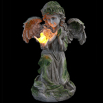 "14"" Solar Angel Statue w/Bird"