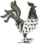 "17"" Filigree Rooster Statue - Crackle Ivory Finish"
