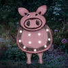 """17"""" Solar Metal Marquee LED Pig Statue"""