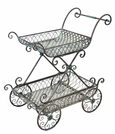 2-Tier Flower Cart Stand w/Moving Wheels - Click to enlarge