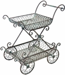 2-Tier Flower Cart Stand w/Moving Wheels