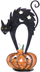 "20"" Metal Black Cat on Pumpkin w/Candle Holder"