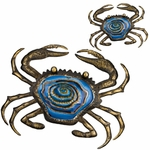 "20"" Metal & Glass Crab Wall Decor (Set of 2)"