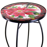 "21"" Glass Table - Poinsettia Flowers"