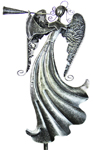 "22"" Silver Angel Garden Stake - Blowing Horn"