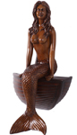 "23"" Sitting Mermaid w/Boat - Wood Finish"