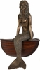 "23"" Sitting Bronze Mermaid w/Wood Finish Boat"
