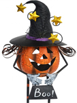 "24"" Metal Pumpkin w/Witch Hat & w/Candle Holder"