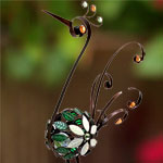 "28"" Bronze Filigree Bird w/Mosaic Tile"