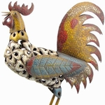 "27"" Large Colorful Rooster Statue"