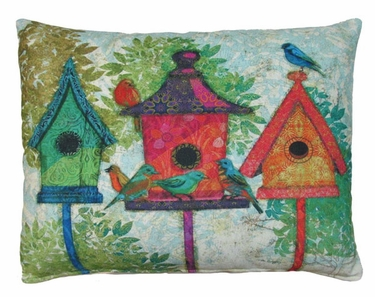 3 Birdhouses Outdoor Pillow - Click to enlarge