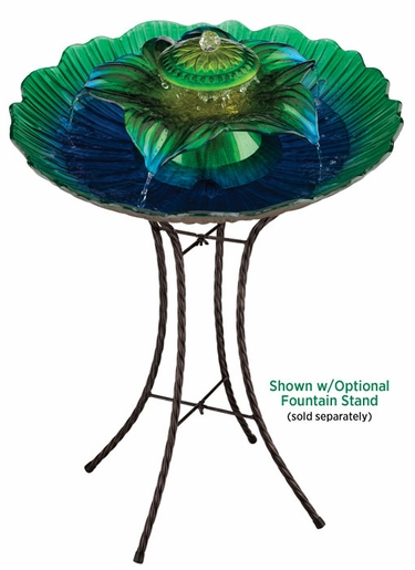 3-Tier Glass Fountain - Blue/Green - Click to enlarge