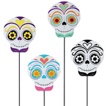 "30"" Metal Sugar Skull  Stakes (Set of 4)"