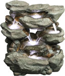 "31"" Stone Rocks Waterfall Fountain w/LED Lights"