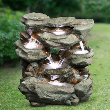 31 Quot Stone Rocks Waterfall Fountain W Led Lights Only