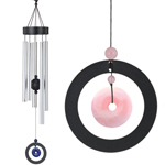 "32"" Healing Stone Wind Chime - Rose Quartz"