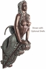 "36"" Mermaid Figurehead Wall Decor - Greenish Bronze"