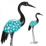 "37"" Filigree Metal Crane Statue - Crackle Blue Finish"
