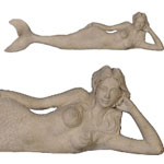 "39"" Dreamy Mermaid Lying Statue - Roman Stone Finish"