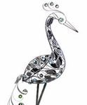 "40"" Filigree Heron Bird - Pewter"