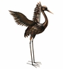 "44"" Large Bronze Crane - Wings Up"