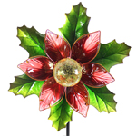 "47"" Solar Kinetic Christmas Stake - Poinsettia"