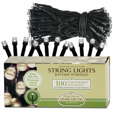 100-LED WHITE String Lights - Battery Powered - Click to enlarge