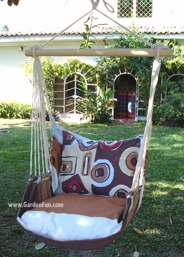 60 Thompson Stripe Mocha Hammock Chair Swing Set - Click to enlarge