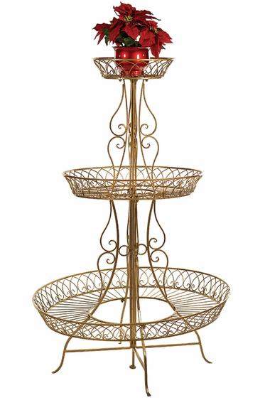 62 Quot Round Plant Stand Gold Only 429 95 At Garden Fun