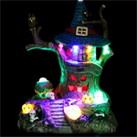 "9"" LED Animated  Halloween House w/Flying Witch"
