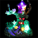 "9"" LED Animated Spooky Tree House w/Flying Witch"