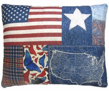 American Denim Outdoor Pillow - Click to enlarge