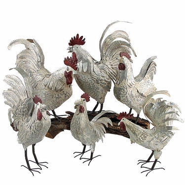 Antique Galvanized Roosters (Set of 6) - Click to enlarge