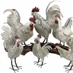 Antique Galvanized Roosters (Set of 6)
