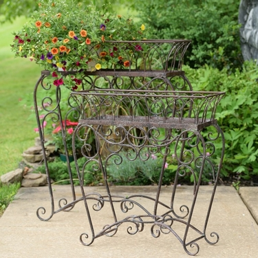 Antique Iron Plant Stands (Set of 2) - Click to enlarge