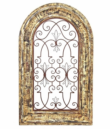 Arched Wooden Window Frame w/Iron Decor - Barcelona Red Finish - Click to enlarge
