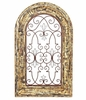 Arched Wooden Window Frame w/Iron Decor - Barcelona Red Finish