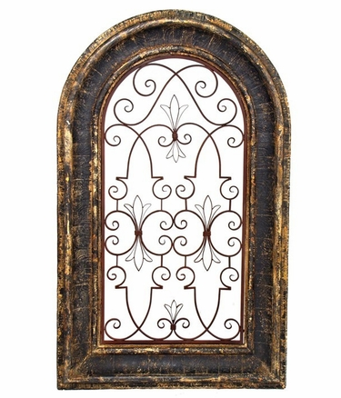Arched Wooden Window Frame w/Iron Decor - Tuscany Black Finish - Click to enlarge