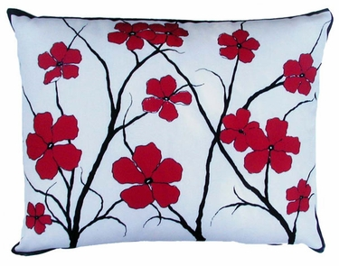 Asian Flowers Outdoor Pillow - Click to enlarge