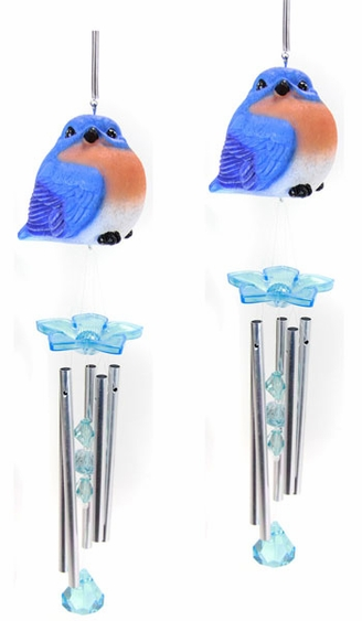 Audubon Blue Bird Wind Chimes (Set of 2) - Click to enlarge